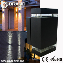 Alta potencia 2x6x1W luz de pared rectangular arriba y abajo LED luz de pared exterior rectangular