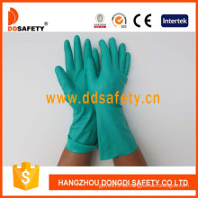 Guantes de nitrilo verde, guantes industriales con puño recto sin forro (DHL446)