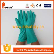 Gants verts de nitrile, gants d'industrie avec la manchette droite non doublée (DHL446)