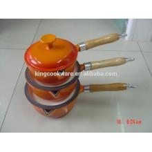 Sartén alemana de esmalte de hierro fundido olla sartén / utensilios de cocina de hierro fundido con mango de madera