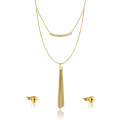 18K Gold Plated Schmuck Set Factory Günstige Quaste Halskette und Ohrring Set