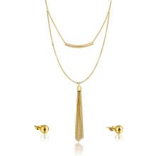 18k banhado a ouro conjunto de jóias de fábrica barato borla colar e conjunto de brinco