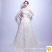 2017 Los últimos diseños de lujo Suzhou Ball Gown vestidos de novia hecho a mano flor Appliqued