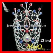 Colorful large tall patriotic pageant tiara crown