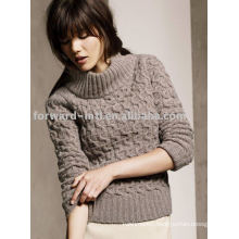 LADIES' WOOL ROLL COLLAR PULLOVER