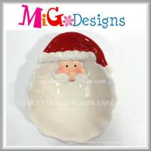 Plat en céramique de conception de Santa de Noël en gros d'OEM et plat