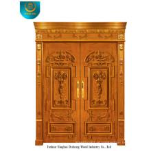 Porta de madeira estilo europeu para exterior com duas portas (ds-006)