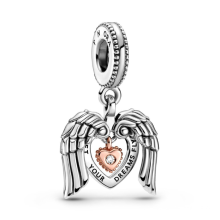 Sterling Silver S925 Lucky Lucky Charm Pendant New Year New 2021 Angel Wings and Love Rose Charm