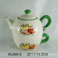 Belle théière en céramique design florale