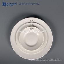 3 pcs Branco Custom Logo Bone China Cerâmica fina placa de jantar conjunto