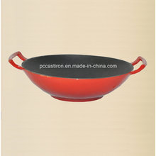 Enamel Cast Iron Wok Inner Black Outer Red