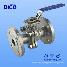 Válvula de esfera flutuante do aço inoxidável da flange 2PC