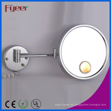 Espejo de vanidad redondo plegable Fyeer de un solo lado con luz LED