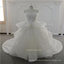 Mais recente vestido plissado sexy lace vestido de noiva