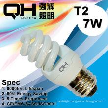 T2/T3 CE Arroved 8000hrs 7W Full Spiral Energy Saving Lamp/Spiral Lamp/CFL 220V/127V