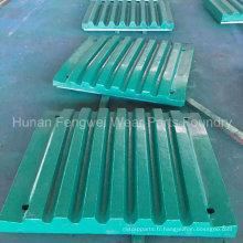 Plaque de mâchoire de pièces de concasseur à mâchoires pour Metso, Symons, Shanbao