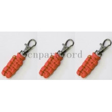 Orange 550 paracord zipper pull