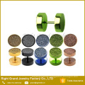 Hot selling Multi Color Anodized Surgical Steel Sandpaper Fake Ear Plug Earrings