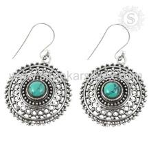 Красивый бирюзовый драгоценных камней серебряные ювелирные изделия оптовая серебряные серьги 925 ювелирные изделия стерлингового серебра