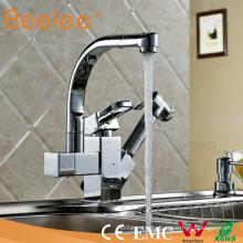 Kupfer 360 Grad Drehwirbel herausziehen Küchenspüle Wasserhahn Mischbatterie mit Sprayer Bidet für zwei Waschbecken
