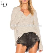 Neuankömmling Asymmetrischer Saum Schnürdetail V-Ausschnitt Pullover für Frauen