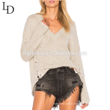 New arrival Asymmetrical hem lace-up detail v neck sweater for women