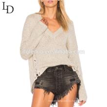 Новое прибытие асимметричный подол кружева-up деталь V шеи свитер для женщин