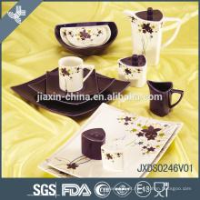Novo 46 PCS Praça Porcelana Dinner Set, louça de impressão decalque, conjunto de jantar Sólida
