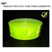 Cinta reflexiva del PVC, de alto brillo, cinta amarillo fluorescente para la ropa de seguridad