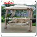 Deluxe outdoor garden steel metal swing chair bed with gazebo