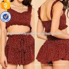 Ruffle Trim Polka Dot Bustier Top & Shorts Set Manufacture Wholesale Fashion Women Apparel (TA4064SS)