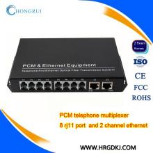 Fabricación de China PCM MUX 8 canales voip pots (fxs fxo) voz a fibra pcm E1 multiplexor