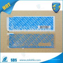 Ruban de sécurité autocollant personnalisé, ruban adhésif anti-effraction avec ligne de perforation et numéro de série