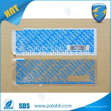 Custom self adhesive security tape, tamper evident security void tape with perforation line and serial number