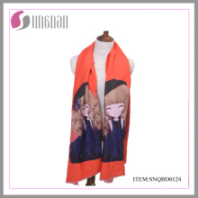 Europe 2015 New Winter Warm Cute Girl Printing Cotton Scarf Shawl (SNQBD0124)