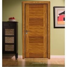 Porta nivelada da sala moderna interior da cama da cor do fumo de Zebrano do estilo, porta lisa lisa folheada projetada S7-1010