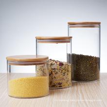 Eco-Friendly Borosilicate Cookie Candy Honey Food Glass Storage Jar with Airtight Bamboo Lid Storage Tank