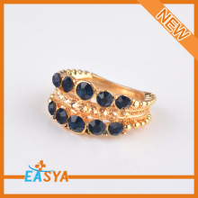 Fashion 2015 New Design Sapphire Blue Crystal Gold Finger Ring