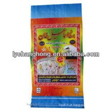 A melhor qualidade de cor branca saco de arroz tecido pp com impressão laminada