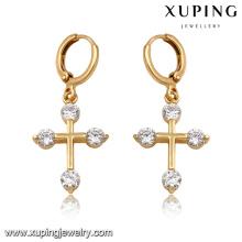 92166-Xuping Neue Standard Tropfen Schmuck Kreuz Ohrringe für Frauen