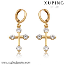 92166-Xuping New standard drop jewellery cross earrings for women