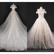hors épaule en dentelle grande robe de mariée mariée train Zt7281