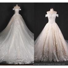 off Shoulder Lace Big Train Bridal Wedding Dress Zt7281