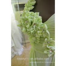 EN STOCK Vestido de un solo hombro vestido de seda de flor de piso-longitud de vestido de fiesta SE14