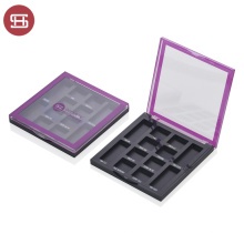 Empty Plastic Eyeshadow Case Transparent Black Square Eyeshadow Case Private Label Your Own Brand
