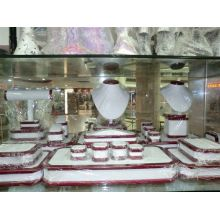 Red Lacquered Wooden Jewelry Countertop Display Suppliers (WST-WR-G1)
