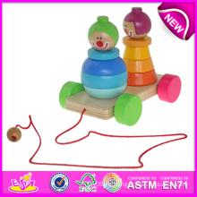 Colorido madera tire hacia atrás el juguete para los niños, apilando tire a lo largo de payaso para los niños, divertido bebé juguete de madera Tire y Push Toy W05b070