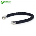 Men Jewelry Stainless Steel Men Black Color Handmade Multilayer Braided Leather Bracelet