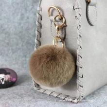Cute Genuine Rabbit Fur Ball Pom Pom Keychain for Car Key Ring Handbag Tote Bag Pendant