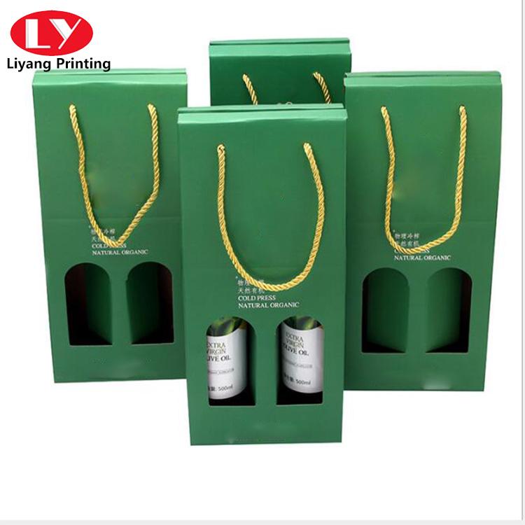 Green Wine Packaging Box Window
